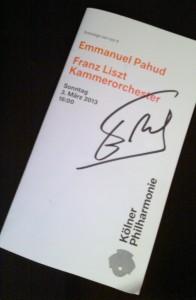 Signiertes Konzerprogramm