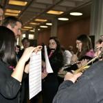 Blattspiel Session auf der Instrumentenausstellung, Flötenorchester + Horn